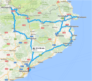 itinerary of our culinary cultural and adventurous tour around Catalonia